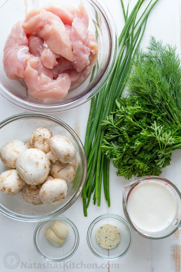 Ingredients for Mushroom Chicken a chicken tenders recipe with mushrooms, green onion, parsley and dill