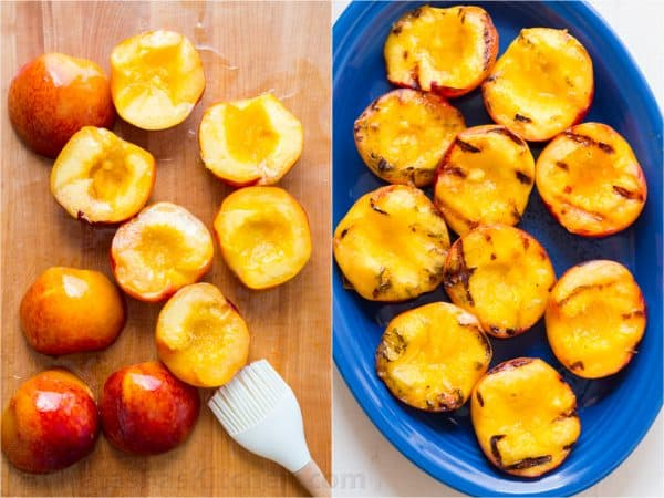 how to pit peaches and grilled peaches on a platter