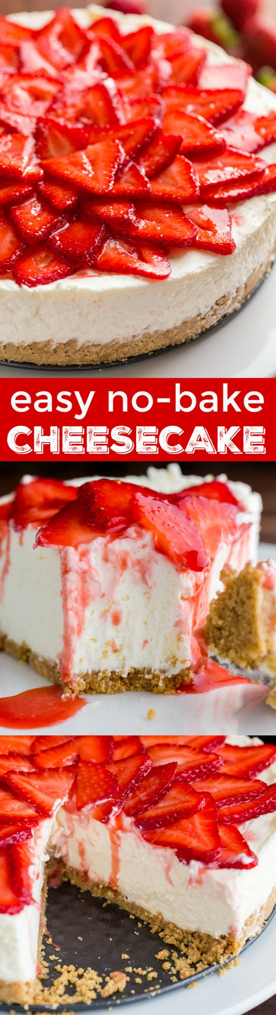 This No-Bake Cheesecake is an elegant, crowd pleasing summer dessert. From the crust to the velvety whipped cheesecake center, this is 100% a NO-BAKE dessert. Mascarpone cheese elevates the flavor and texture of this easy no bake cheesecake and the double strawberry topping is lip-smacking good!   natashaskitchen.com