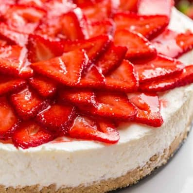 No Bake Cheesecake topped with strawberries