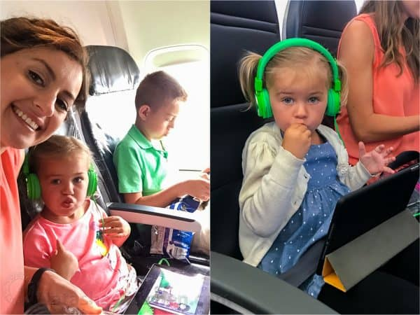 Natasha and kids flying on airplane