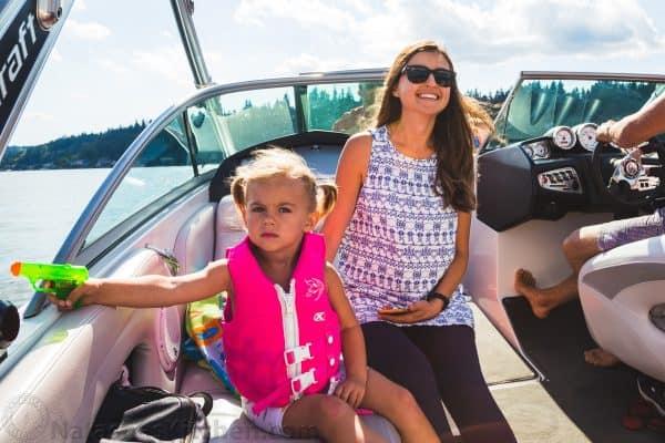 Natasha with daughter on boat