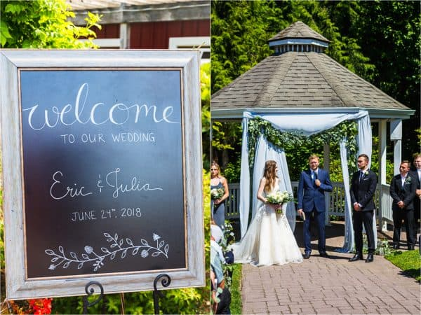 Wedding welcome sign and couple getting married