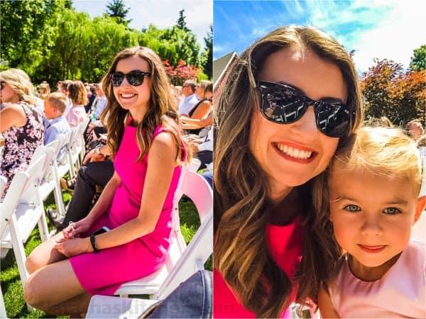 Natasha with daughter at wedding