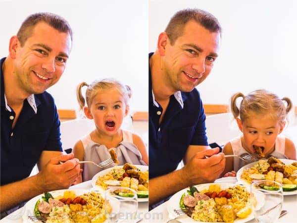 Vadim and daughter eating