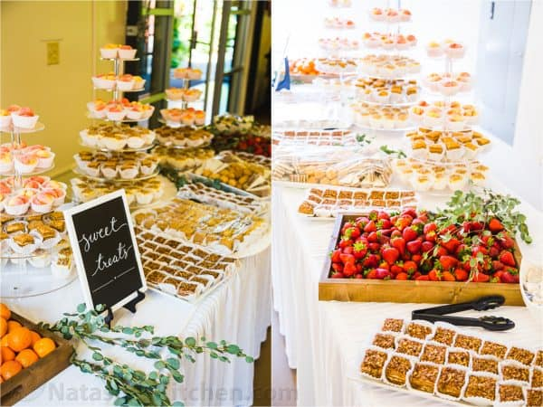 Wedding dessert buffet table with strawberries