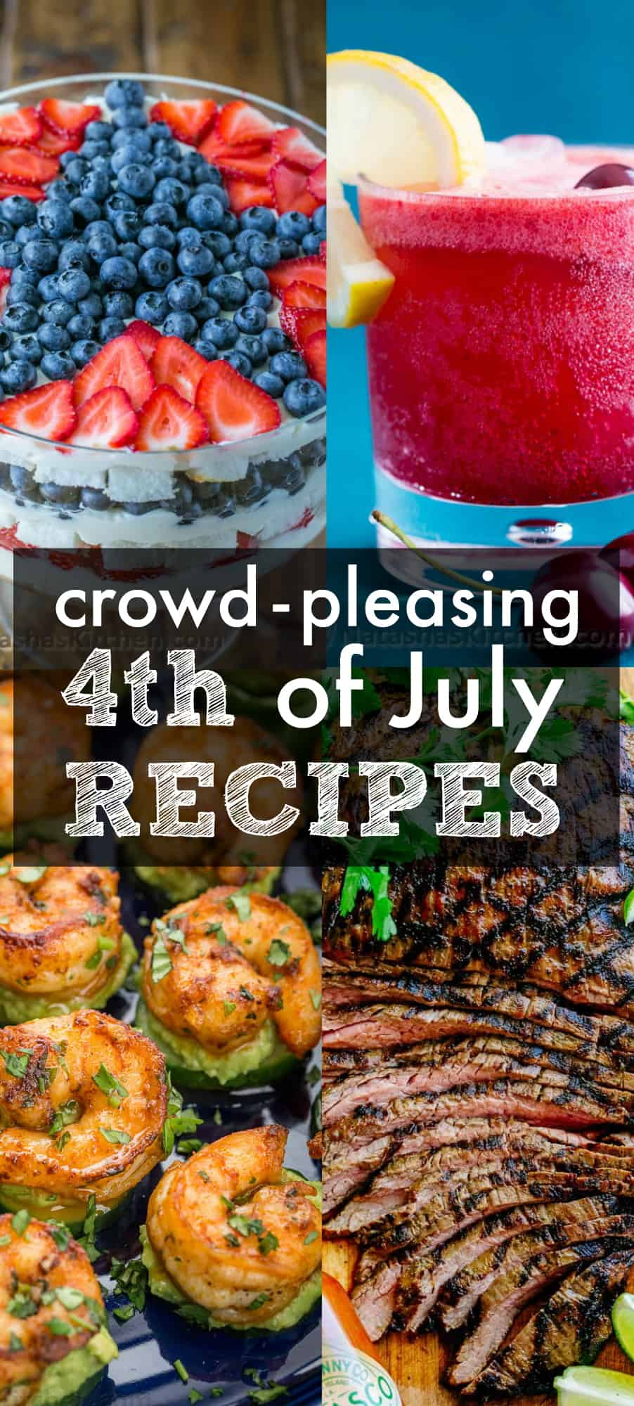 4th of July Recipes for our cookout from dinner to dessert, drinks and appetizers for the fourth of July
