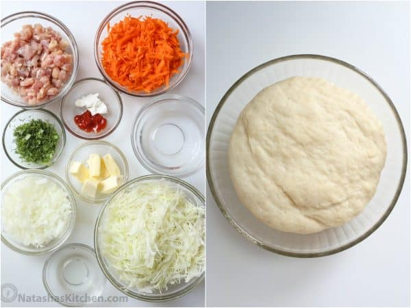Ingredients that go into savory pirog.