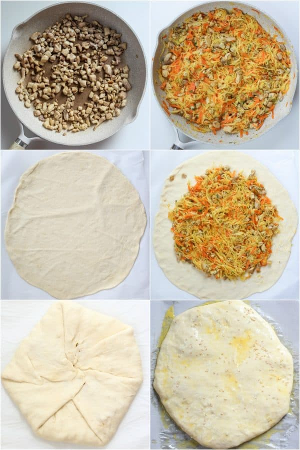 Step-by-step photos of how to make savory pirog.