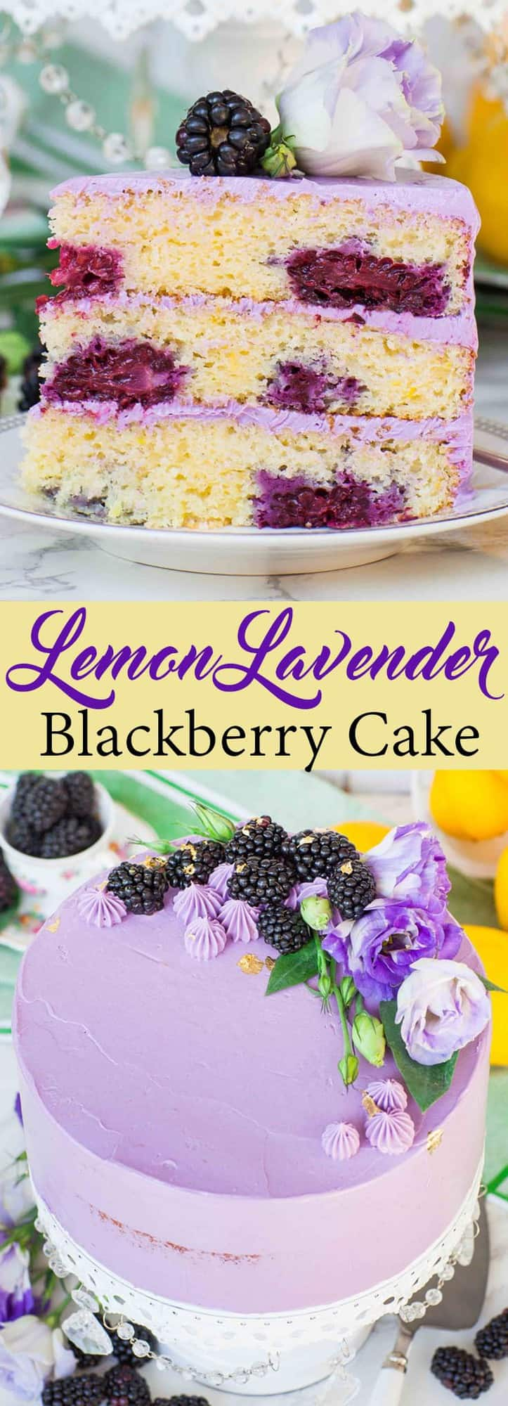 This Lemon Blackberry Cake with lavender French buttercream is the perfect cake for summer! Every bite of this lavender cake is filled with incredible flavor. | natashaskitchen.com