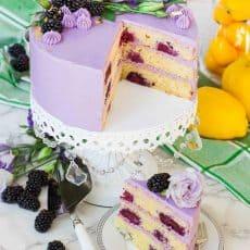 sliced blackberry cake