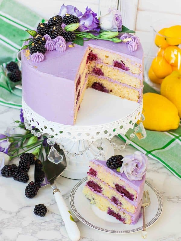 french buttercream frosting on blackberry cake