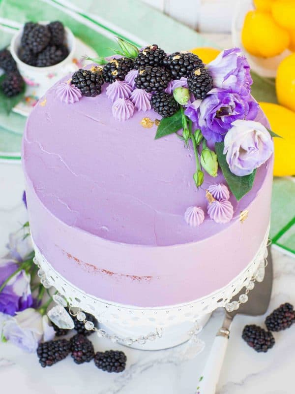 Lemon blackberry cake with lavender French buttercream frosting