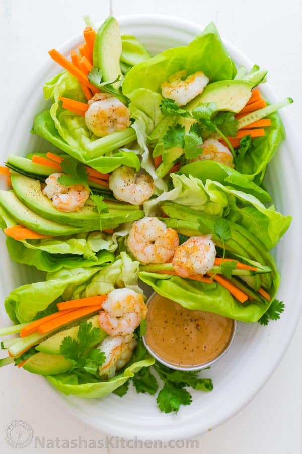 Peanut sauce recipe served with shrimp lettuce wraps