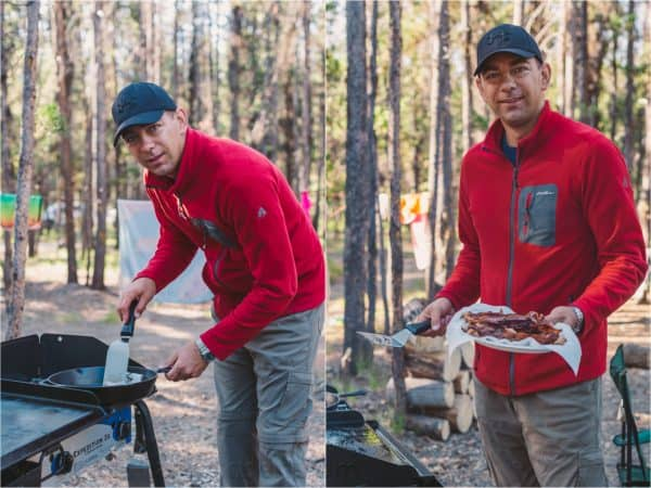Two photos of a man at the grill holding a spatula