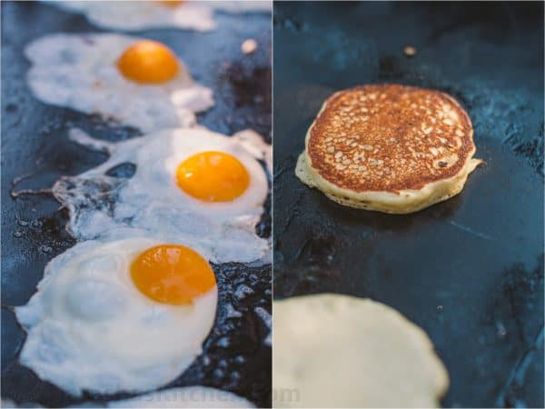 Two photos one of sunny side eggs and another of pancakes on a stove top