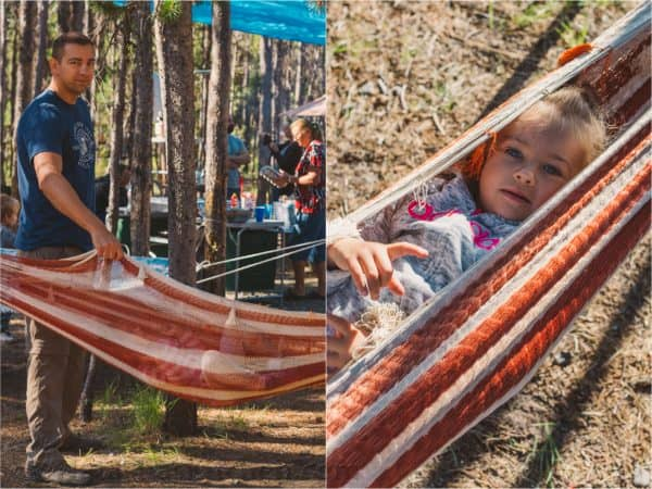 Two photos one of a man holding a hammock and one of a girl in a hammock