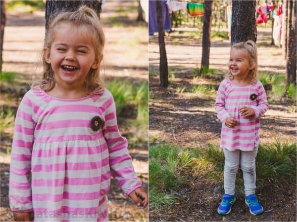 Two photos of a little girl