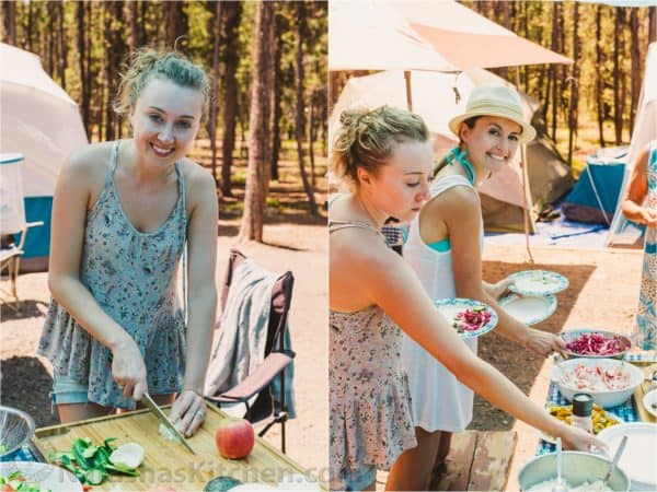 Two photos one of woman cutting and one of two woman around a picnic table