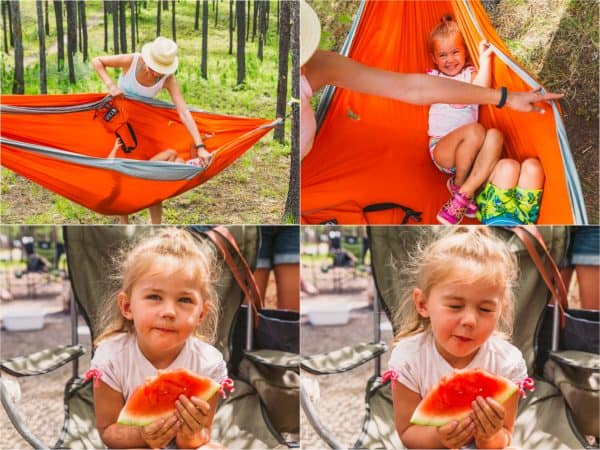 Four photos two of a hammock and two of a girl eating watermelon