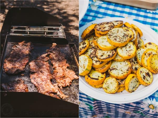 Two photos a plate of yellow squash and one of meat on a grill