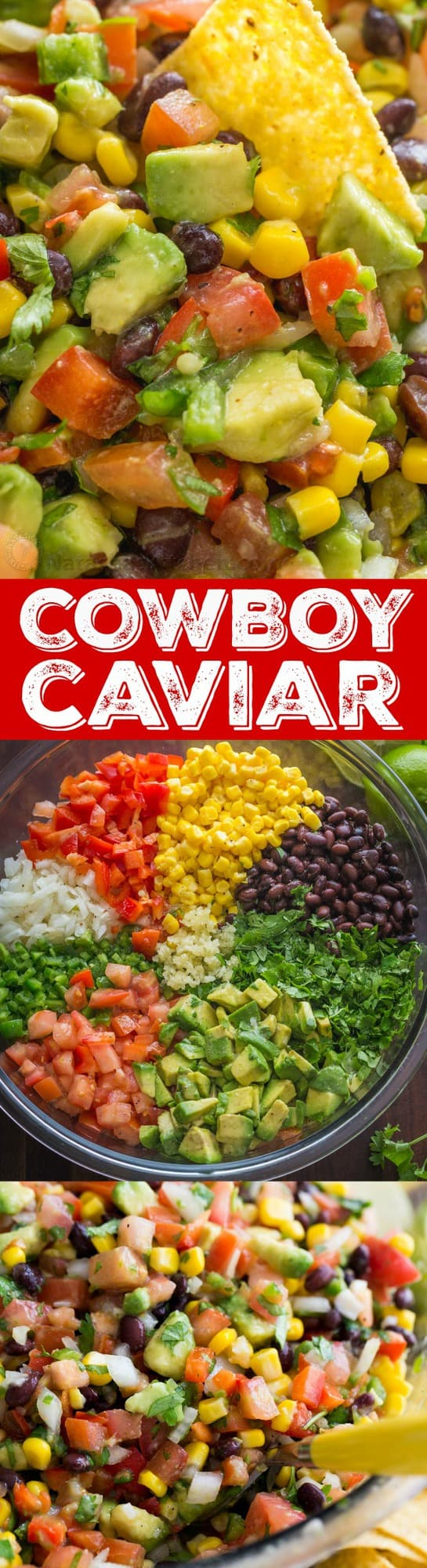 This Cowboy Caviar salsa is fresh, healthy, simple and loaded! We make this salsa all summer long. Makes a big batch so it's an ideal summer party dip. This cowboy caviar (a.k.a. Texas Caviar) always disappears fast! | natashaskitchen.com