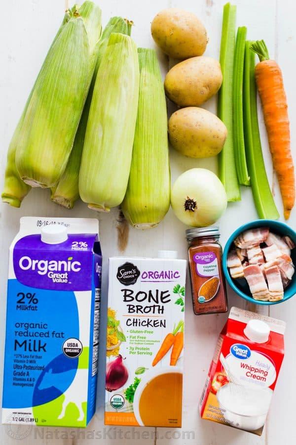 Ingredients for Corn Chowder with fresh corn, potatoes, broth, milk, cream, bacon