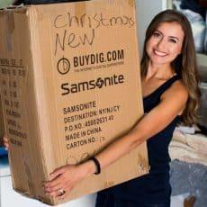 Natasha with moving box