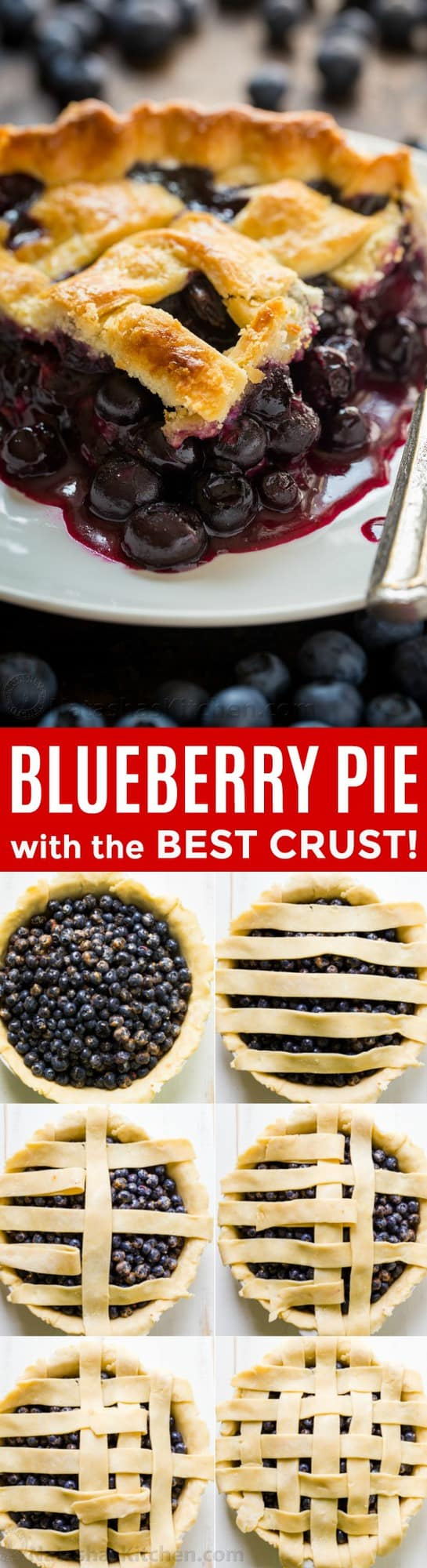 The ultimate Blueberry Pie Recipe! Making a pie from scratch is so rewarding and this blueberry pie does not disappoint. The filling is bursting with sweet, juicy blueberries and tastes amazing with vanilla ice cream. | natashaskitchen.com