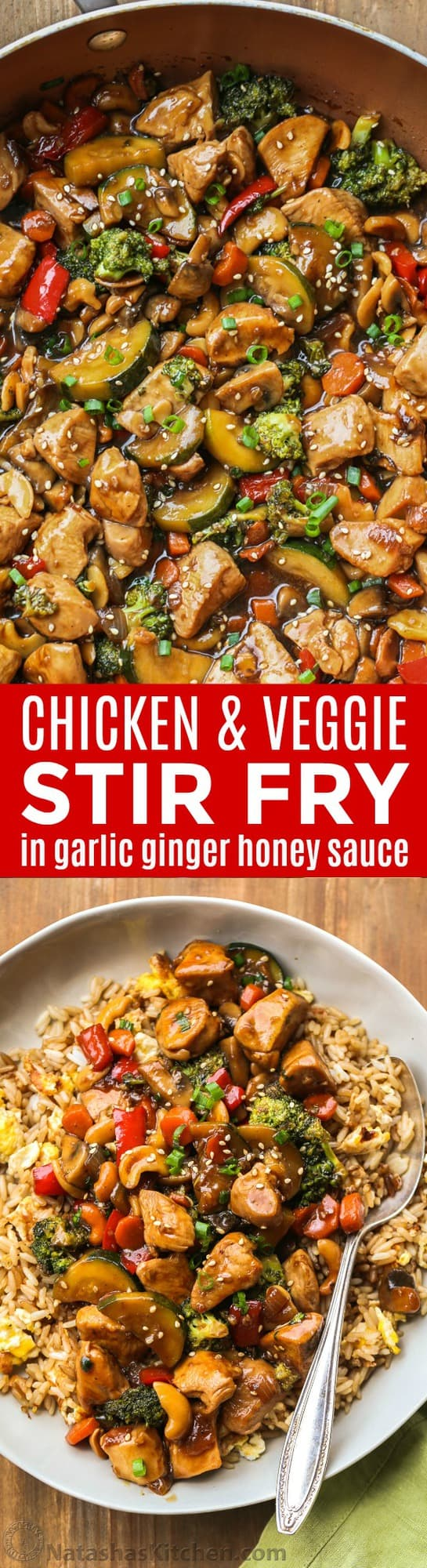 A 30-minute chicken stir fry recipe with an easy ginger honey soy sauce. Perfect easy dinner your whole family will enjoy. | natashaskitchen.com
