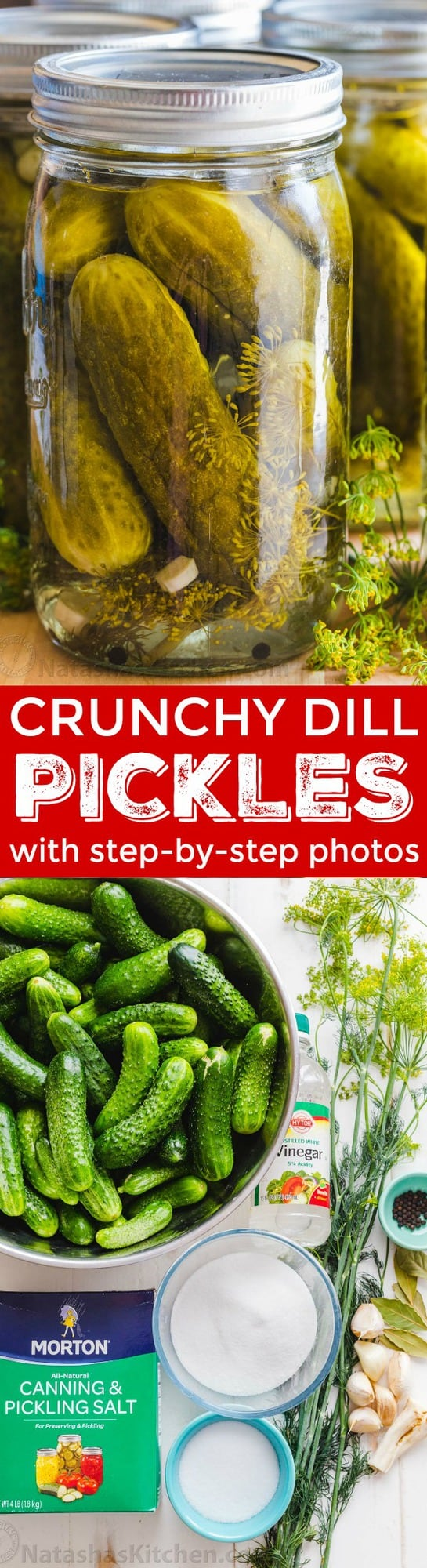 Our go-to Canned Dill Pickle Recipe with tips for making CRUNCHY dill pickles. We included an easy step-by-step photo tutorial on how to can pickles. | natashaskitchen.com