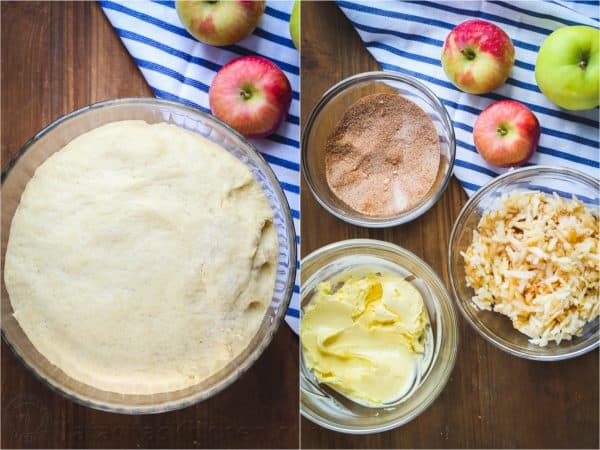 Step-by-step images how to make a sweet apple bread loaf.