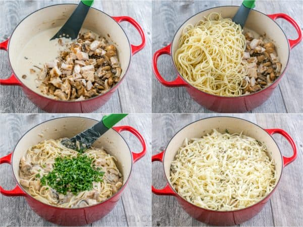 Four photos of the process to make Chicken Tetrazzini