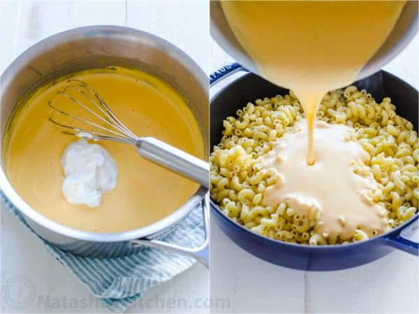 pouring cheese sauce over pasta