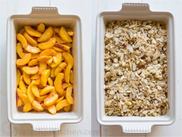 Assembling peach crisp recipe