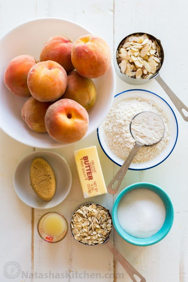 Ingredients for Peach Crisp with option for frozen peaches