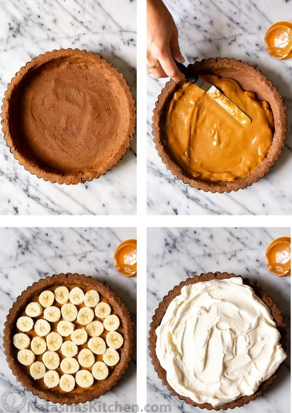Four photos of the process of Banoffee Pie making