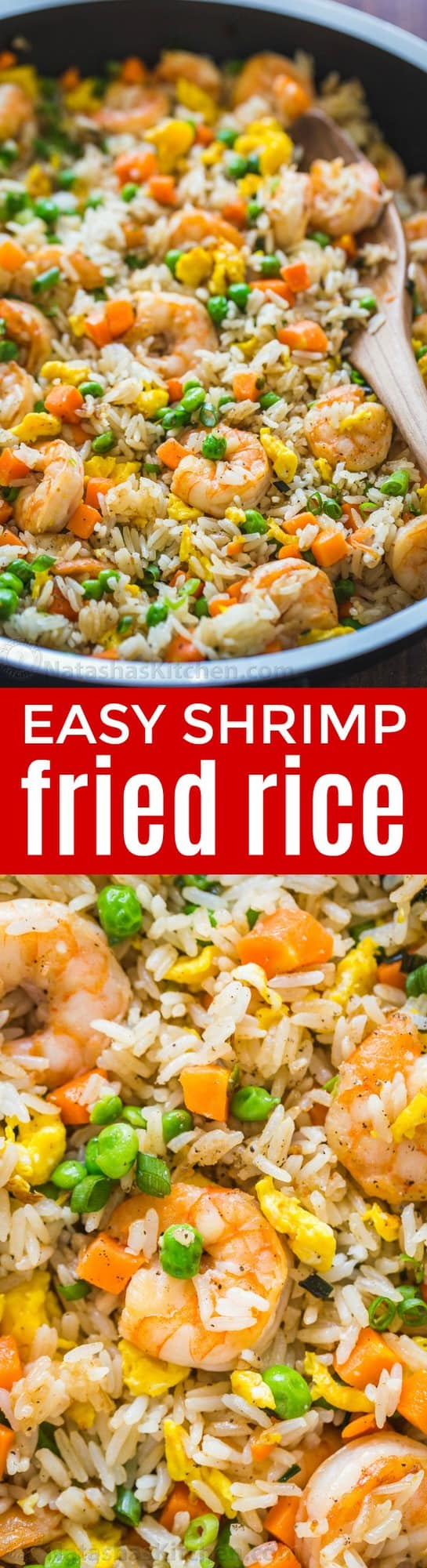 Shrimp Fried Rice is one of my go-to 30-minute meals and my family can't get enough of it. Fried Rice is the best way to use leftover rice and it always dissapears fast! | natashaskitchen.com