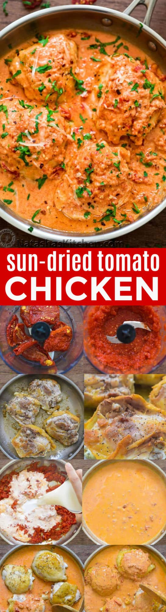This one-pan Sun-Dried Tomato Chicken is quick, easy, and tossed in an incredibly creamy and delicious sun-dried tomato sauce + learn about cooking with sun-dried tomatoes | natashaskitchen.com