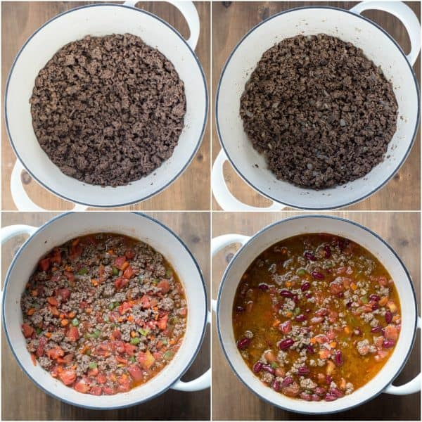 Step-by-step photos how to make chili.