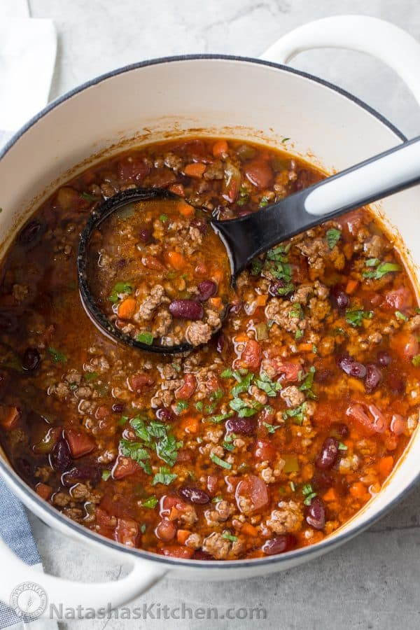 Homemade Beef Chili in a pot