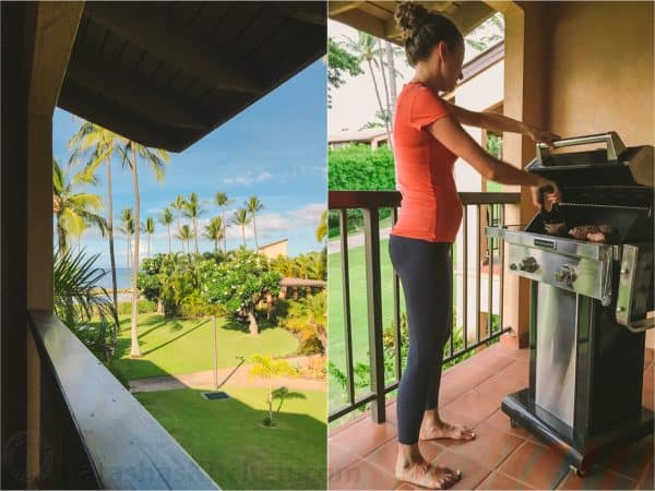 Two photos one of an ocean view and one of a woman standing next to a grill