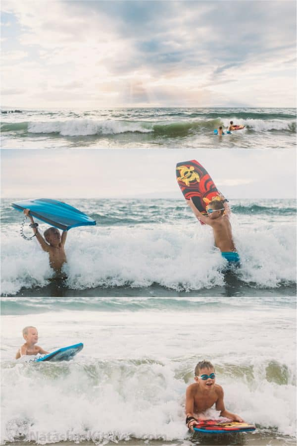 Three vertical photos of boys playing in the water with bodyboards
