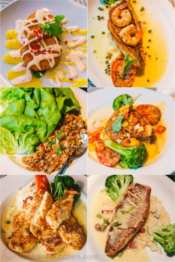 Six photos of different types of food on a plate