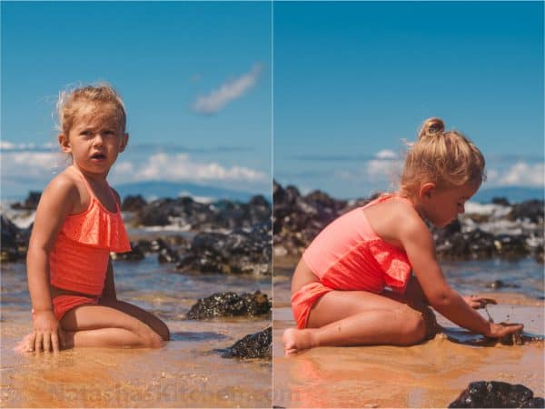 Two photos side by side of a little girl sitting at a beach