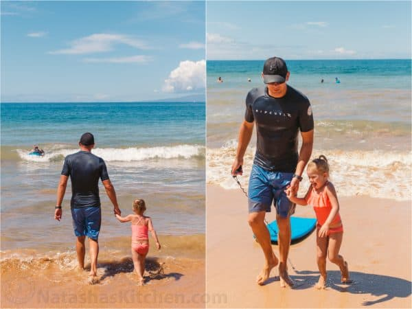 Two photos side by side of a father and daughter at the beach