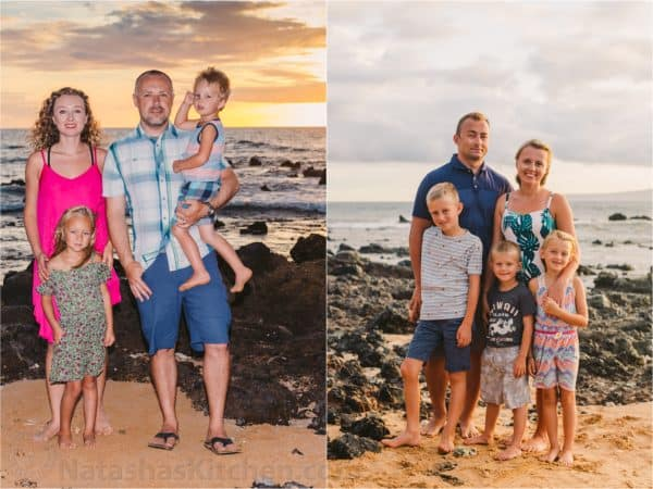 Two photos of families standing at the beach