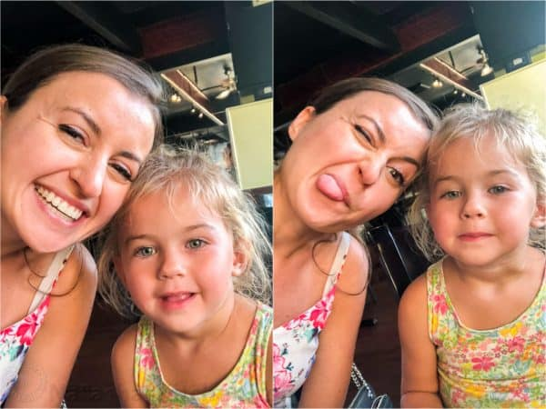 Two photos of mother and daughter