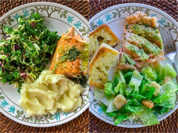 Two photos of plates both have salmon and salad, one has bread other has mashed potatoes