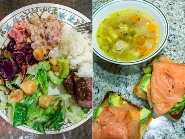 Two photos one has a plate of rice, salad and meat and another soup and sandwich